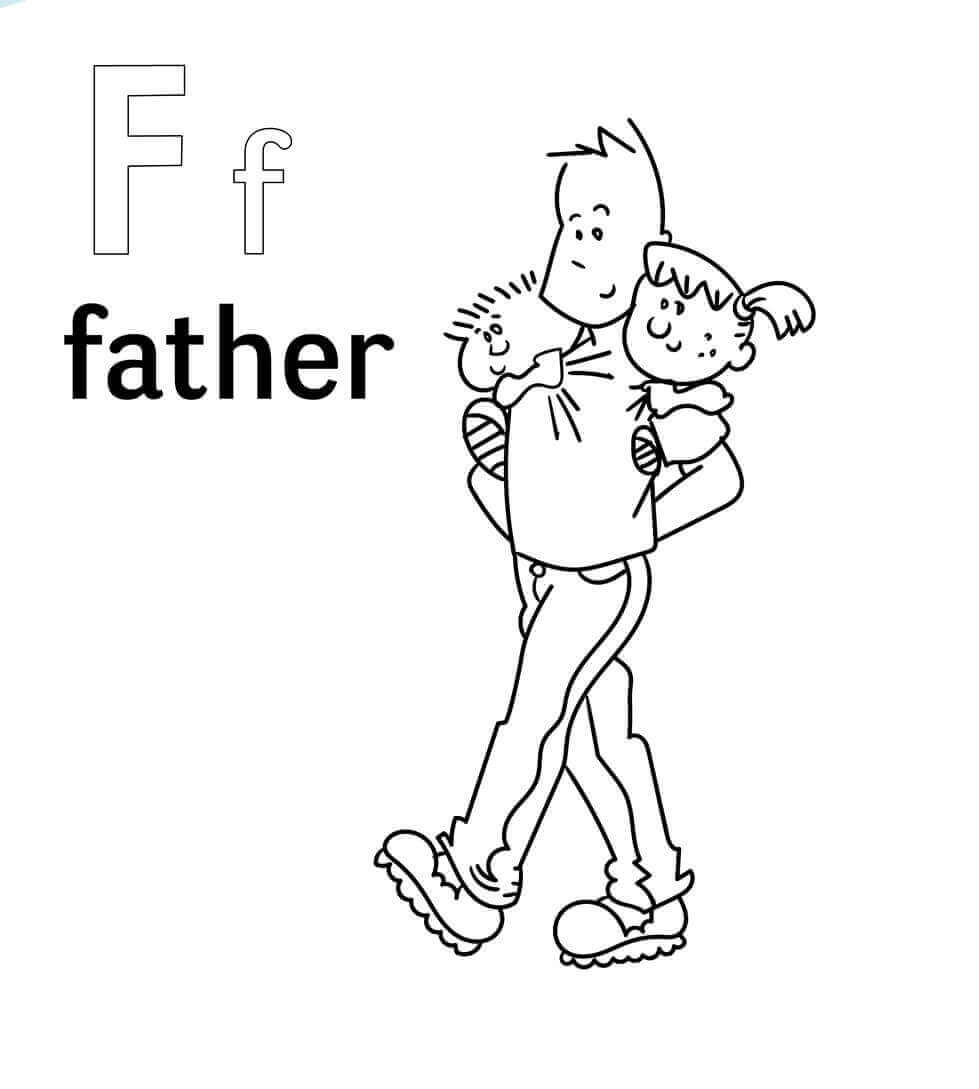 F For Father Coloring Page