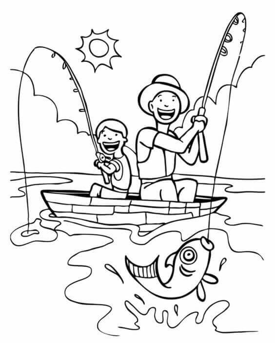 Father And Child Coloring Page