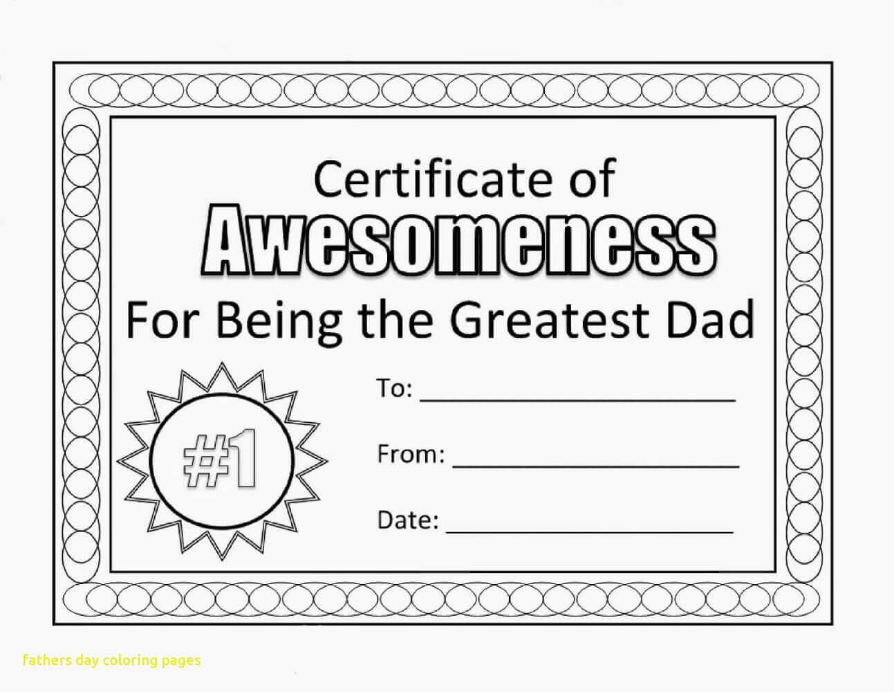 Fathers Day Certificate Coloring Pages Free