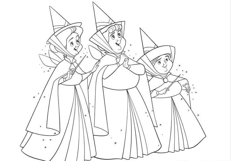 Flora Fauna and Merryweather Fairygodmother Coloring Page
