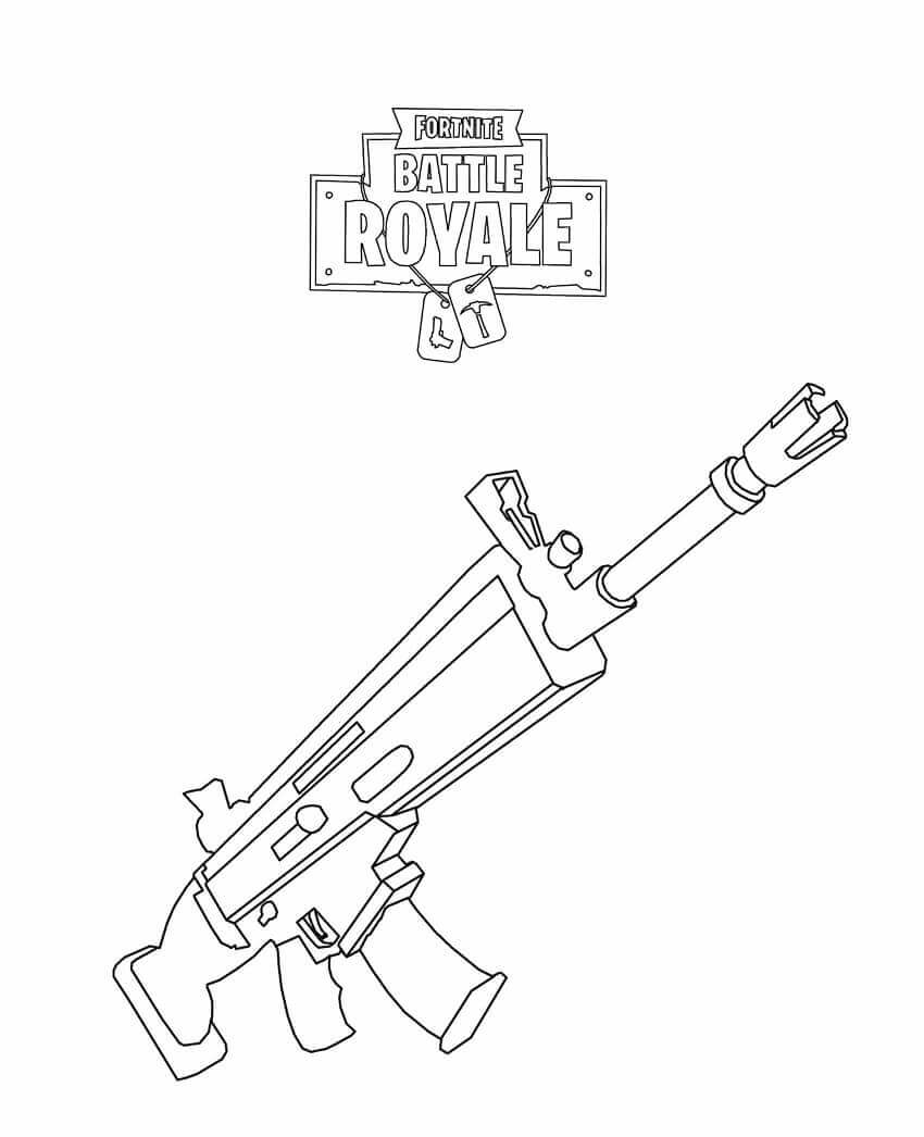 Fortnite Rifle Scar Coloring Page View And Print Full Size