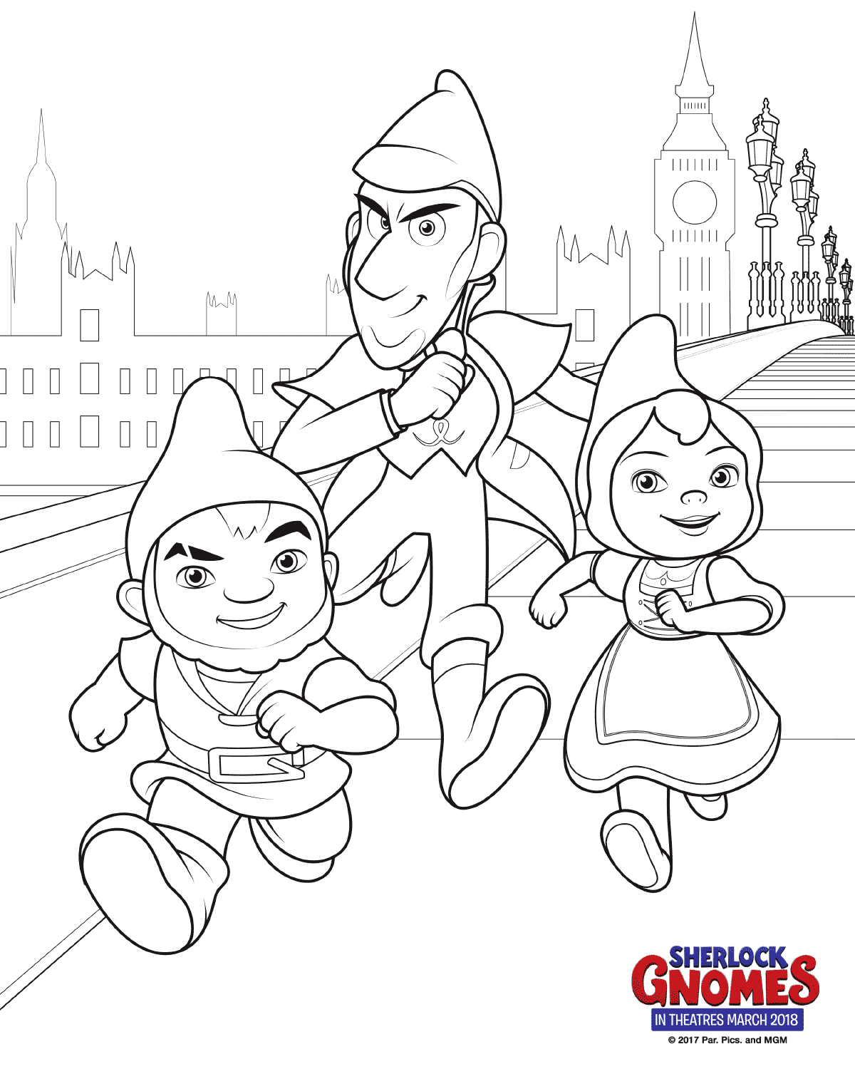 Free Printable Sherlock Gnomes Coloring Pages