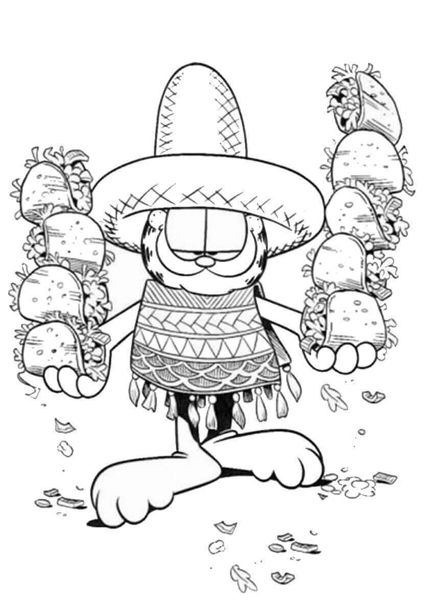 Garfield Cinco De Mayo Coloring Pages