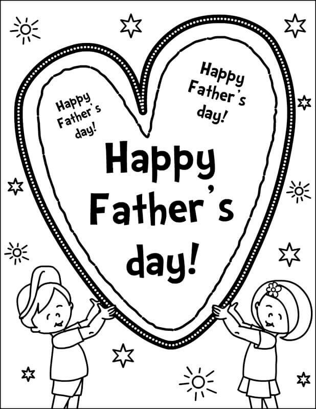 Happy Fathers Day Card Coloring Pages Free