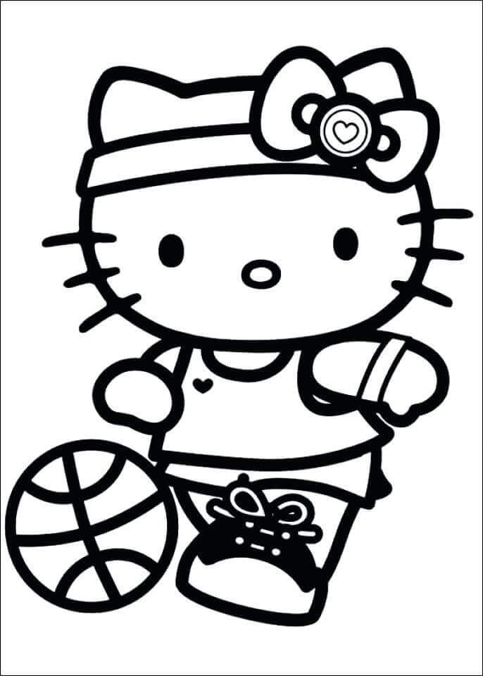 Hello Kitty Basketball Coloring Page