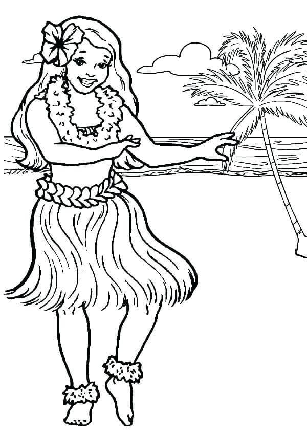 Hula Dancer On The Beach Coloring Page