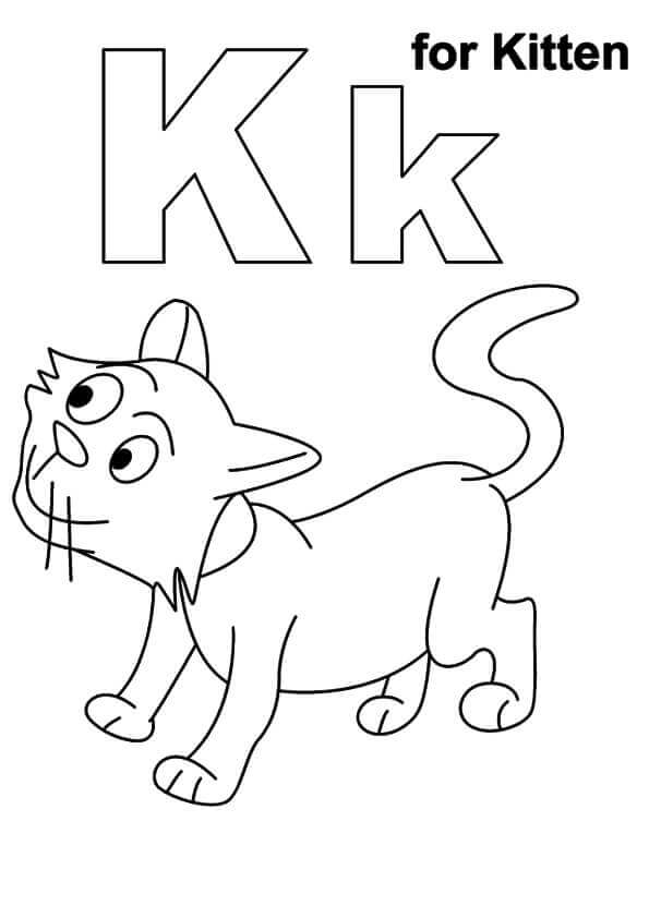 K For Kitten Coloring Page