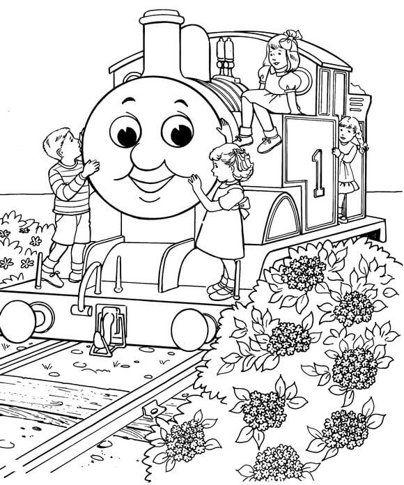 Kids With Thomas The Train Coloring Page