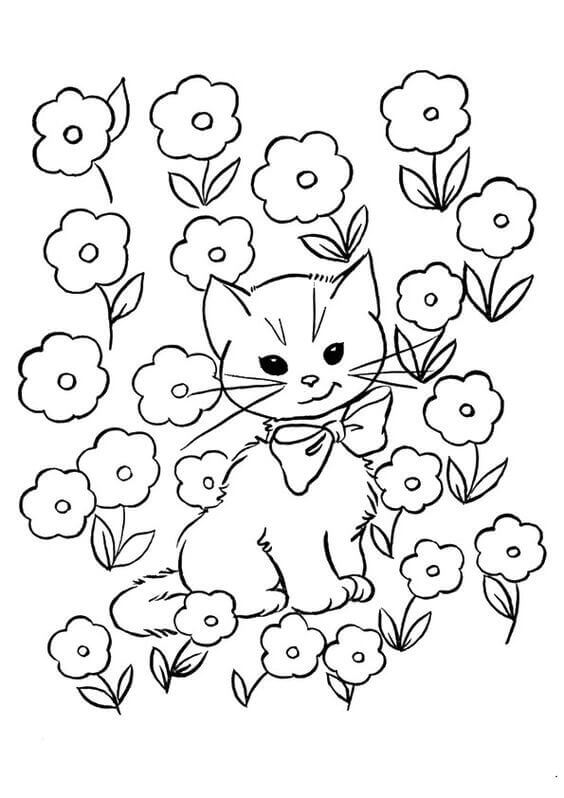 Kitten Coloring Images For Kids