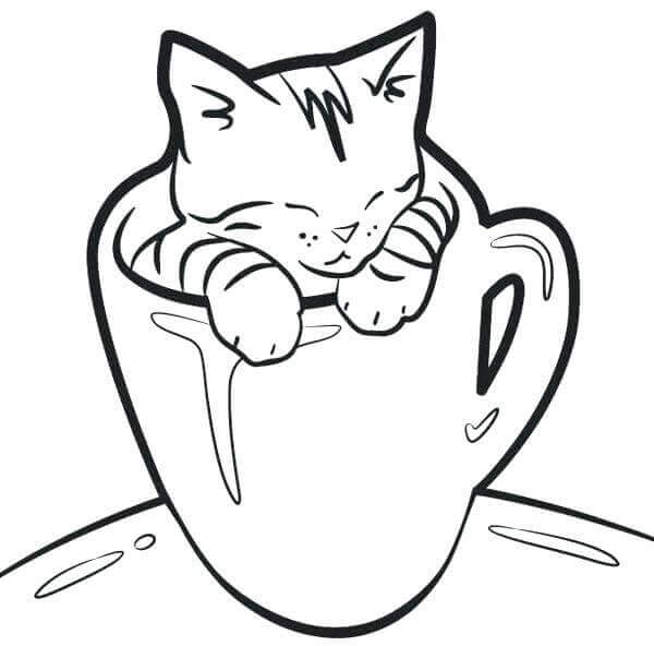 Kitten In A Cup Coloring Page
