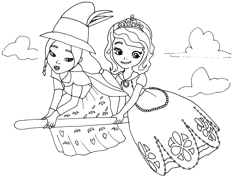 Lucinda And Princess Sofia Coloring Sheet