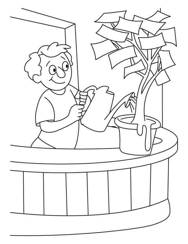Money Plant Watering Arbor Day Colouring Pages