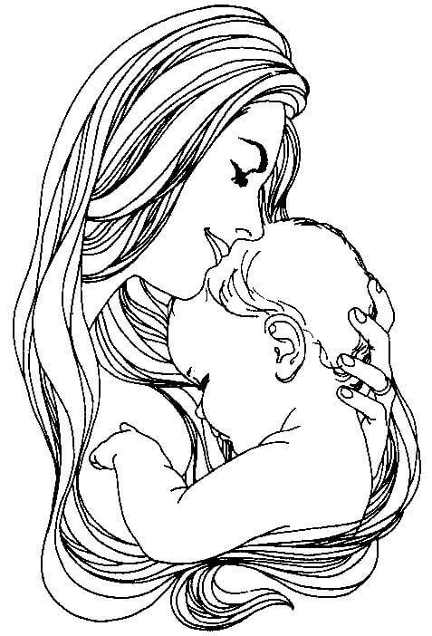 Mother And Son Coloring Page