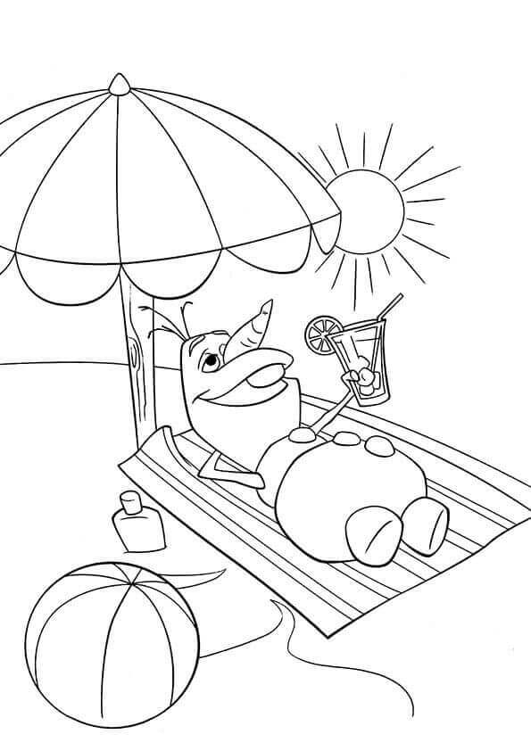 Olaf In The Beach Summer Coloring Page