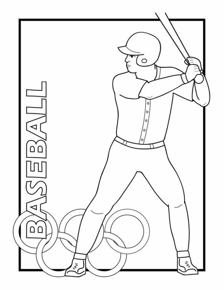 Olympics Baseball Coloring Page