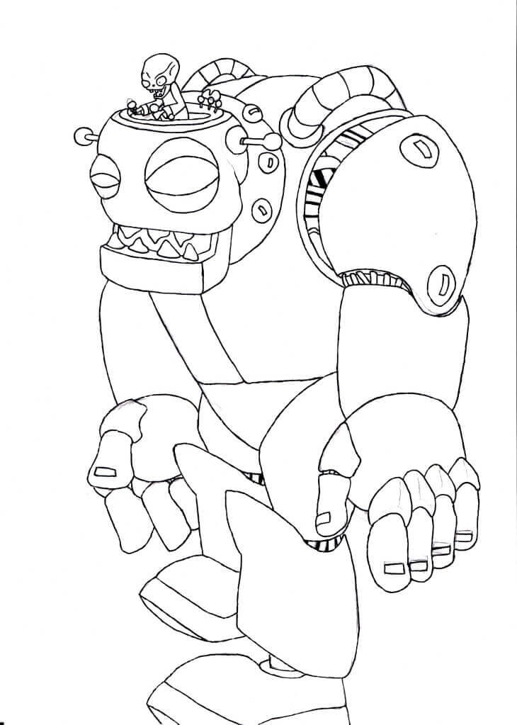 Plants vs Zombies 2 Coloring Page Big Zombot