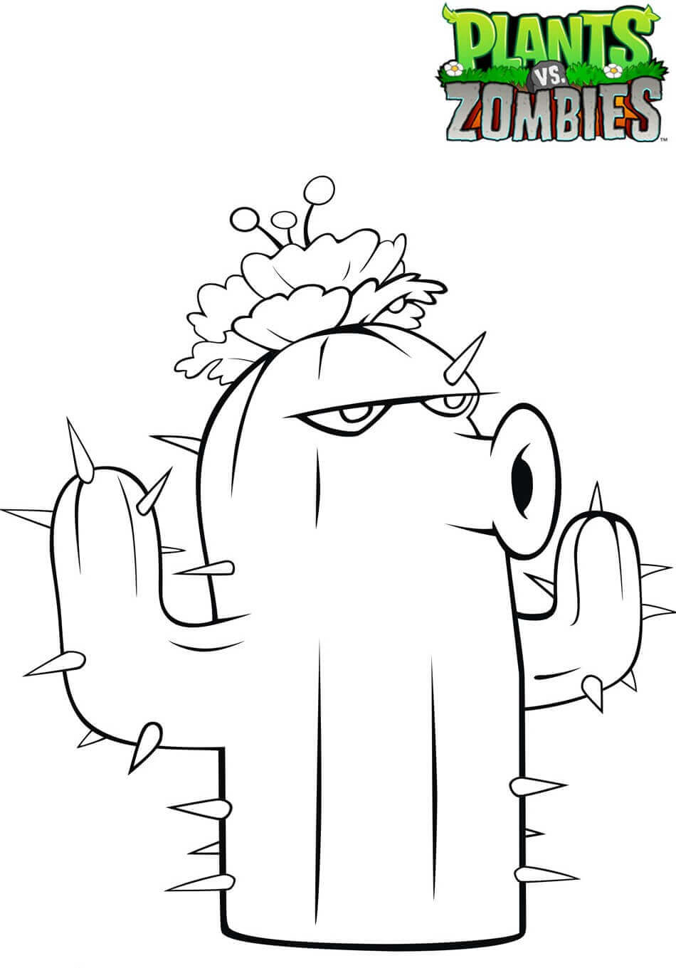 Plants vs Zombies Coloring Pages Cactus