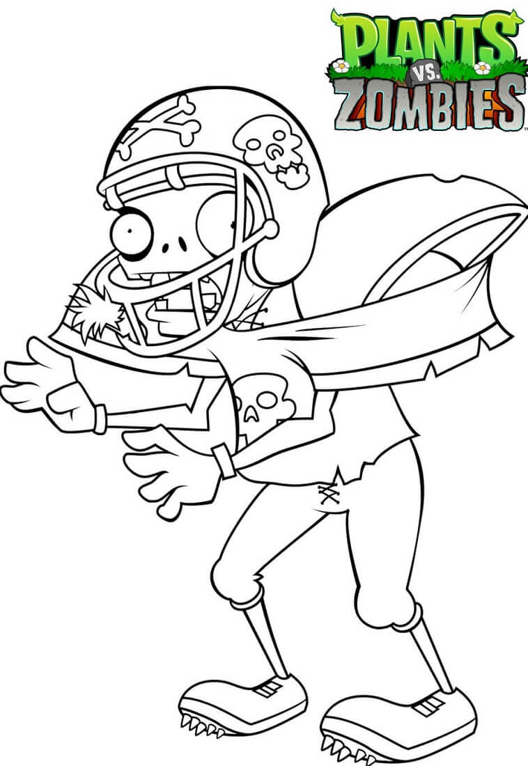 Plants vs Zombies Coloring Pages Football Zombie