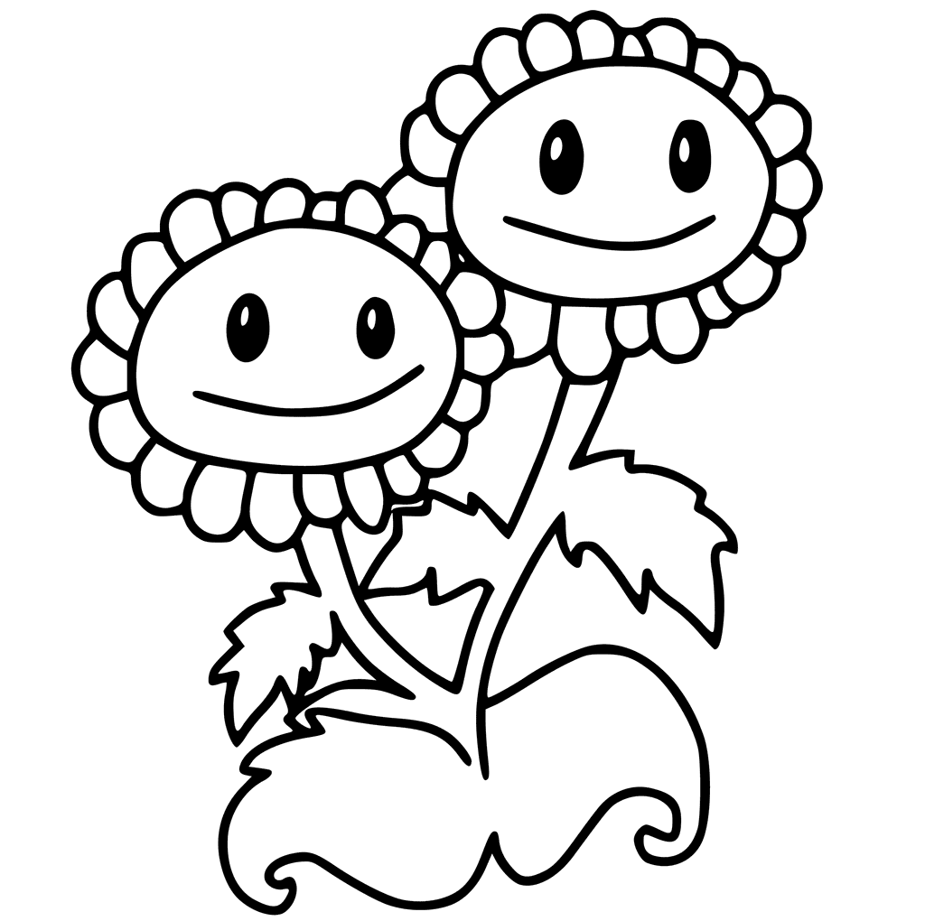 Plants vs Zombies Coloring Pages Twin Sun Flower