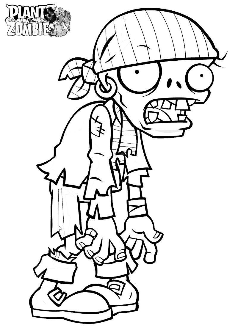 Plants vs Zombies Coloring Sheets Pirate Zombie