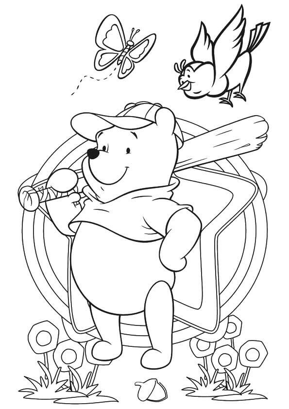 Pooh Playing Baseball Coloring Sheets