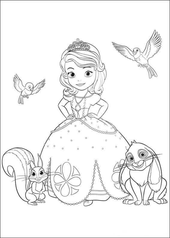 Princess Sofia With Her Pets Coloring Page