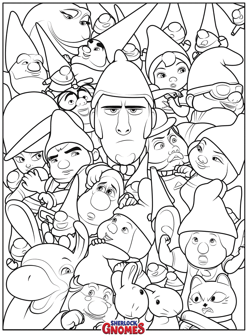 Sherlock Gnomes Characters Coloring Pages