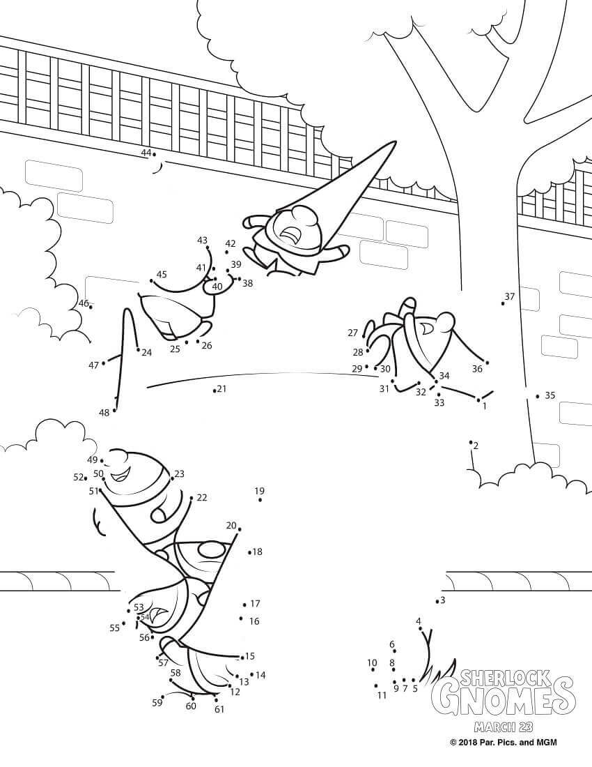 Sherlock Gnomes Connect The Dots Coloring Sheet