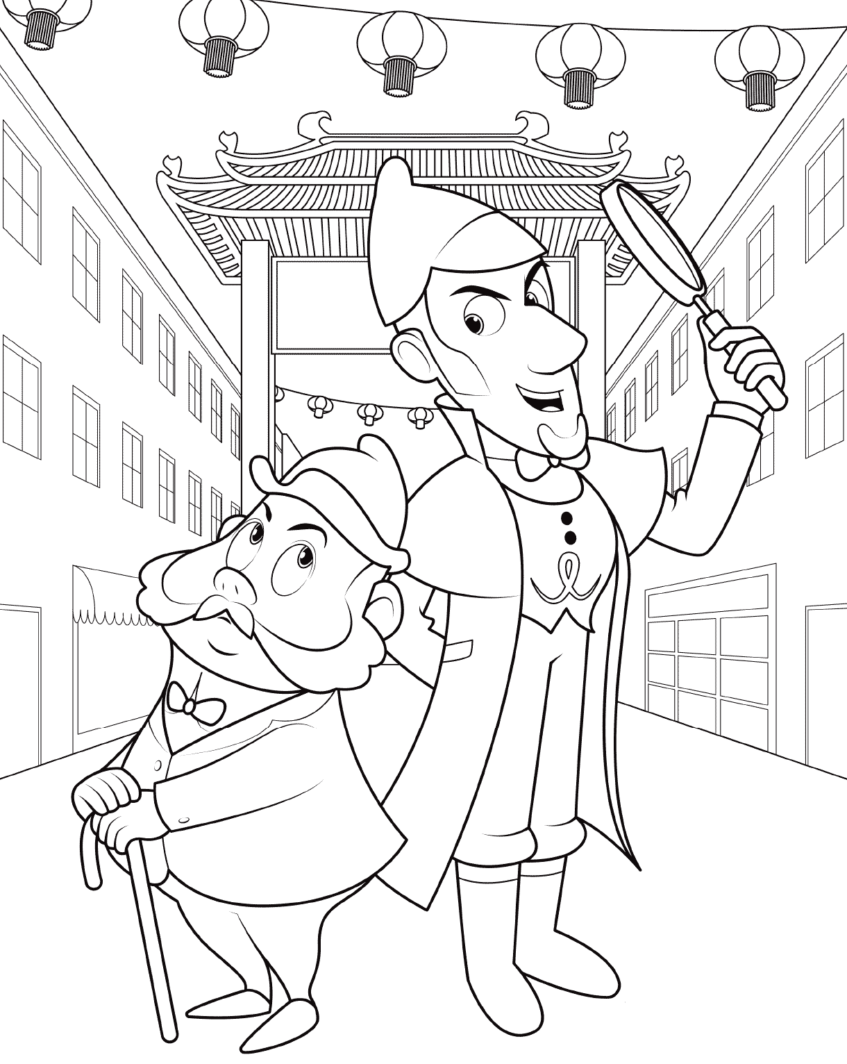 Sherlock Gnomes and Gnome Watson Coloring Page