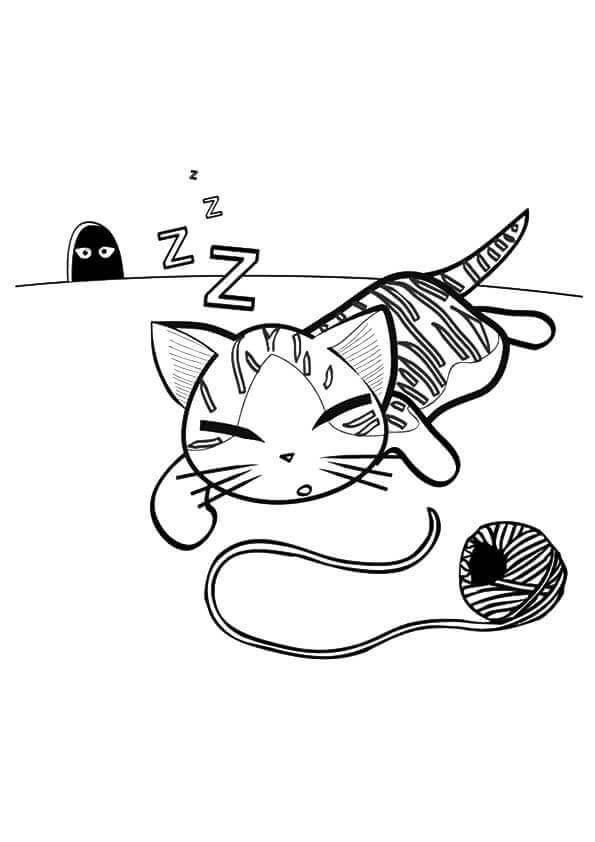 Sleeping Kitty Coloring Pages