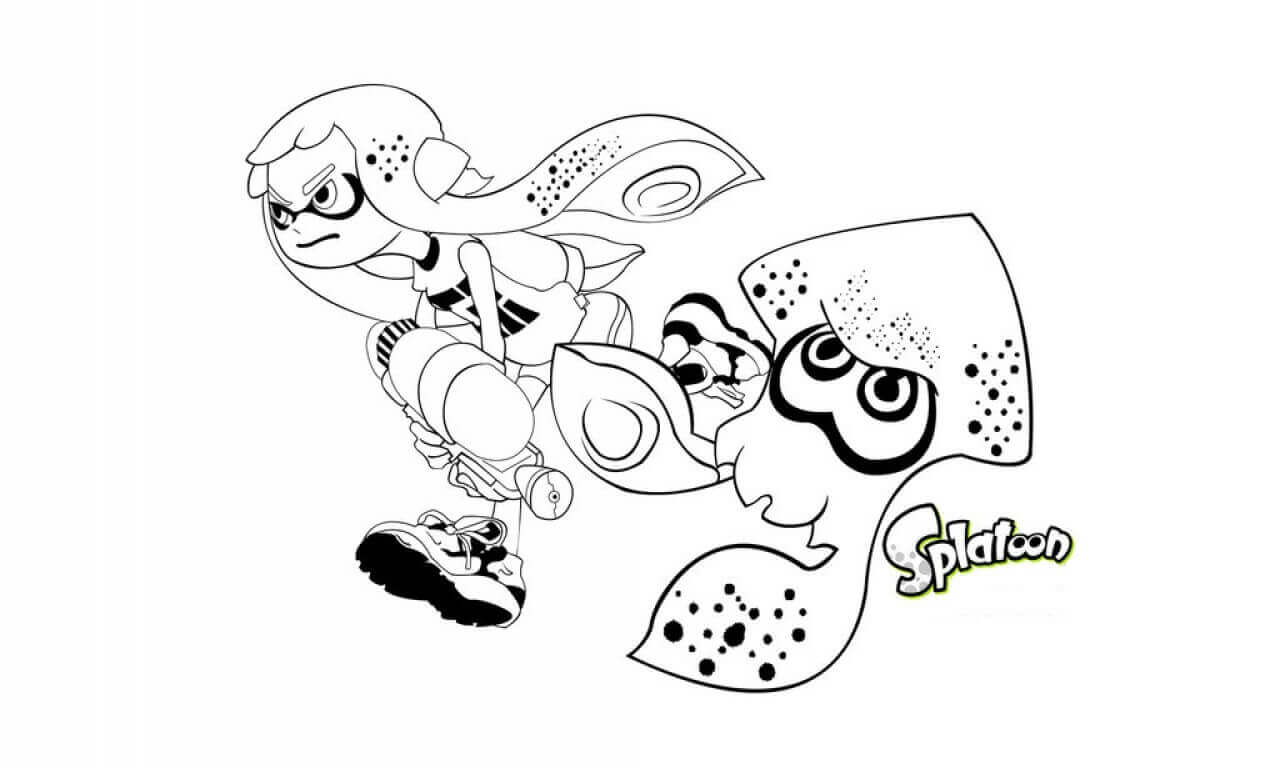 Splatoon Coloring Pages Inkling Girl And Squid