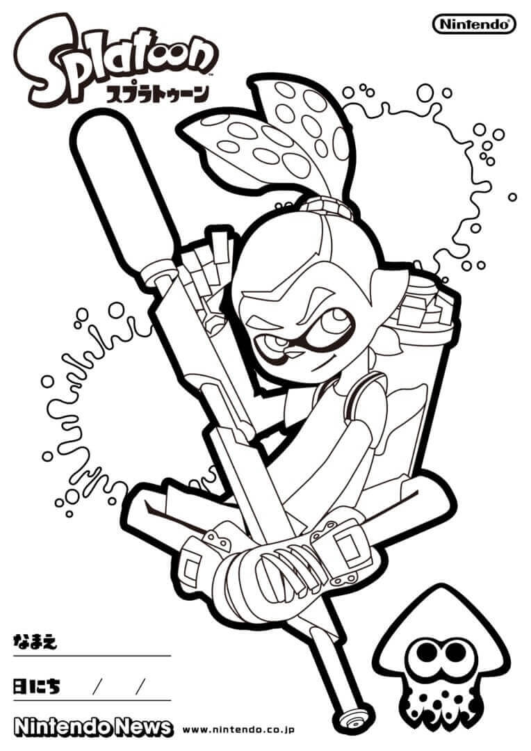 Splatoon Coloring Pages Inkling Male