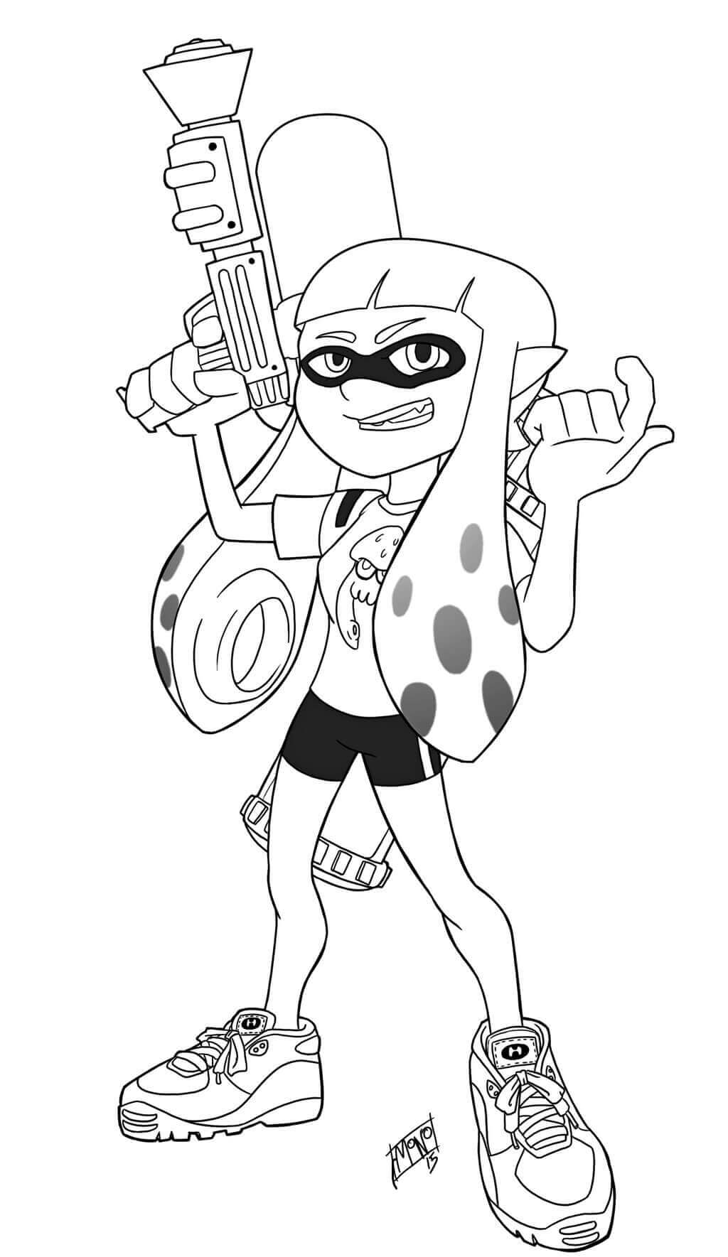 Splatoon Coloring Sheets Female Inkling