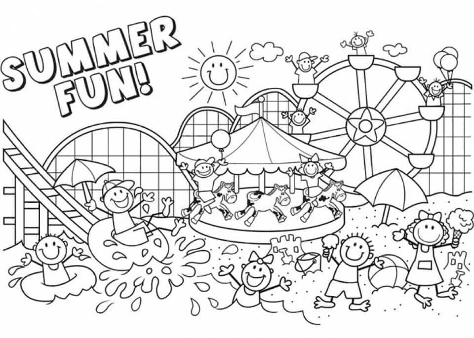 Summer Break Coloring Pages