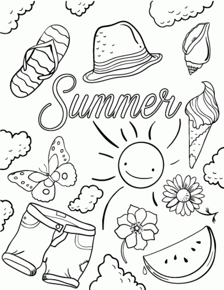 Free Printable 36 Summer Coloring Pages (Summertime Coloring Pages)
