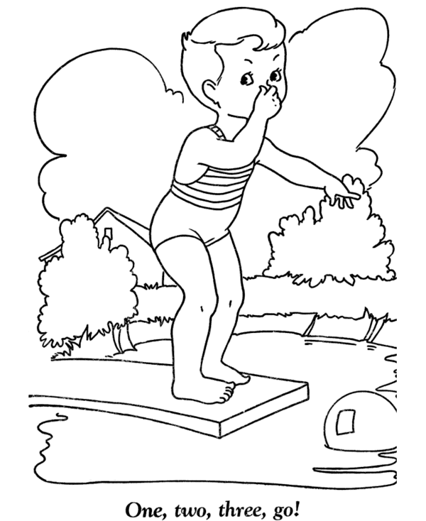 Summer Swimming Coloring Pages