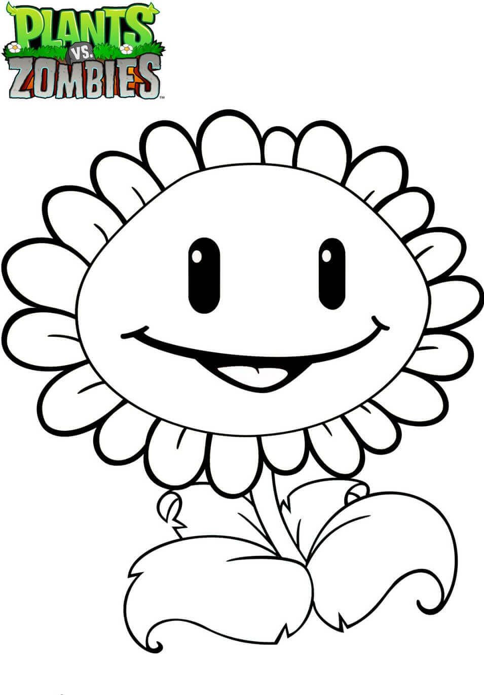 Sunflower From Plants Vs Zombies Coloring Page