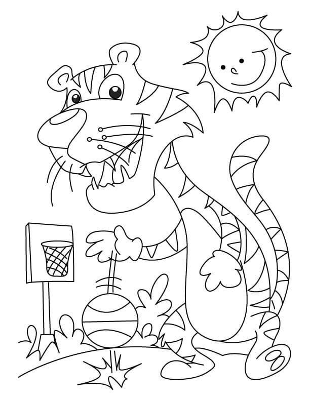 Tiger Playing Basketball Coloring Sheets
