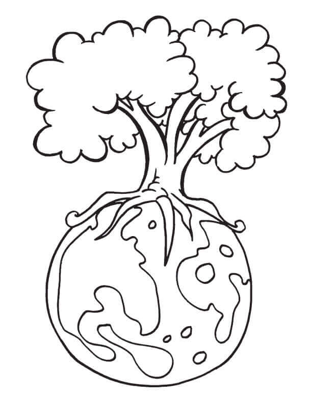 Tree And Earth Coloring Pages