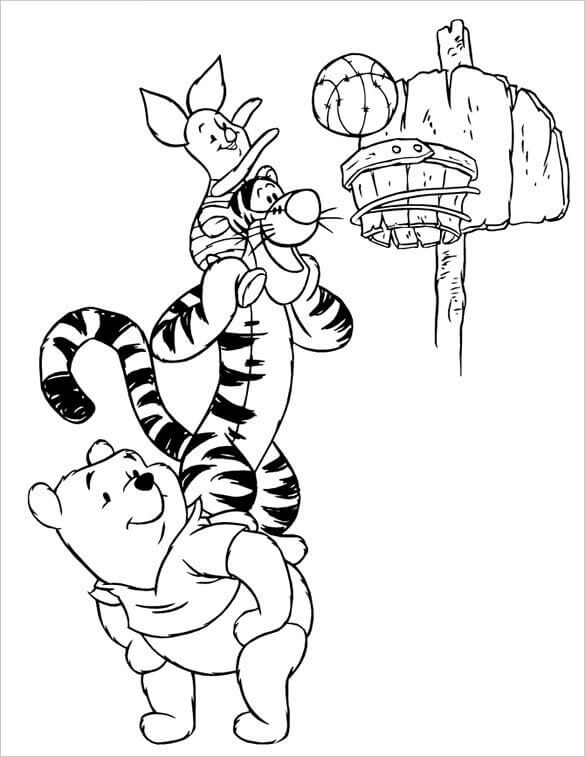 Winnie The Pooh And Friends Playing Basketball Coloring Pages