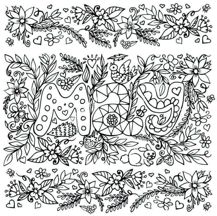 Zentangle May Month Coloring Page