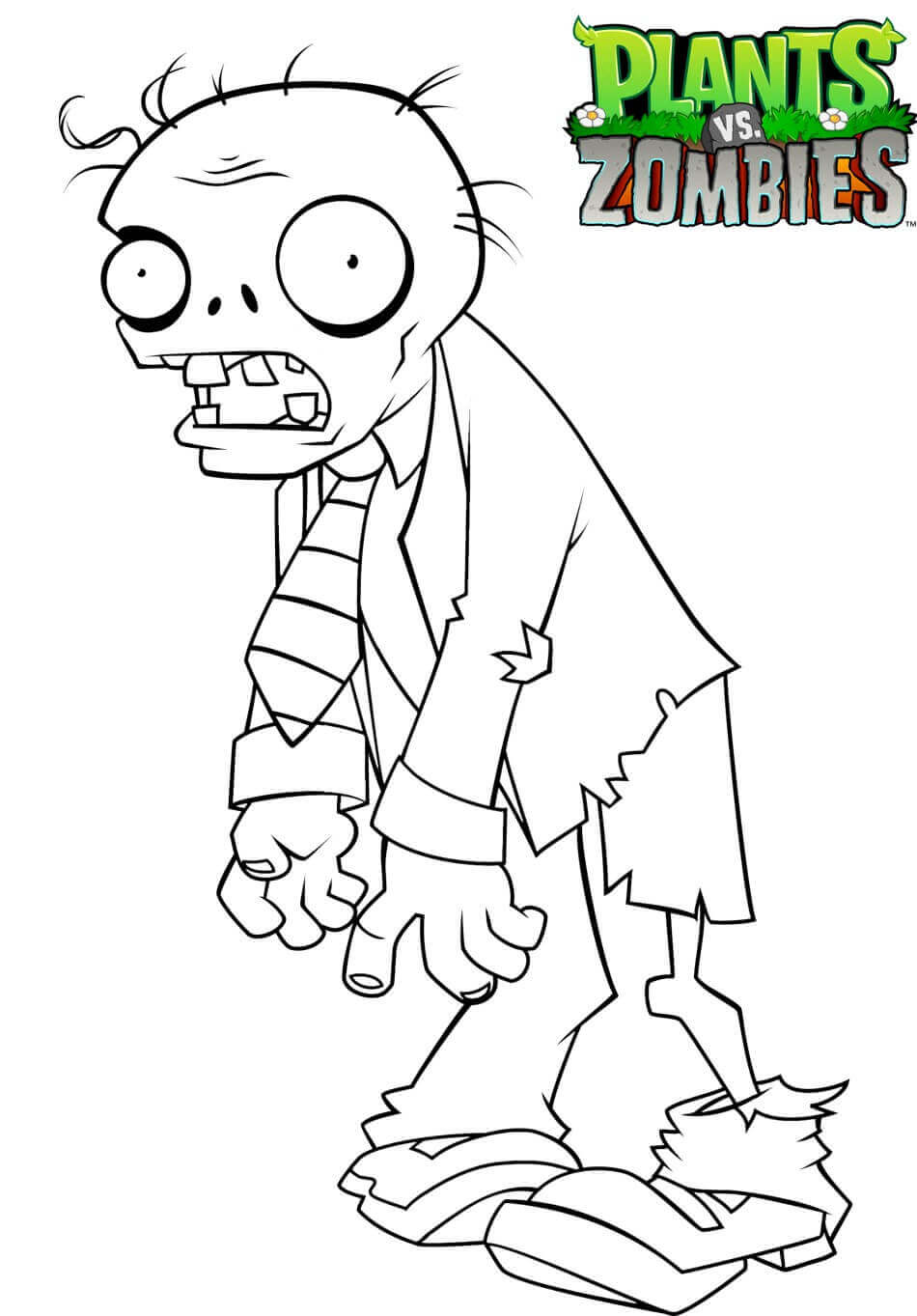 Zombie From Plants Vs Zombies Coloring Page