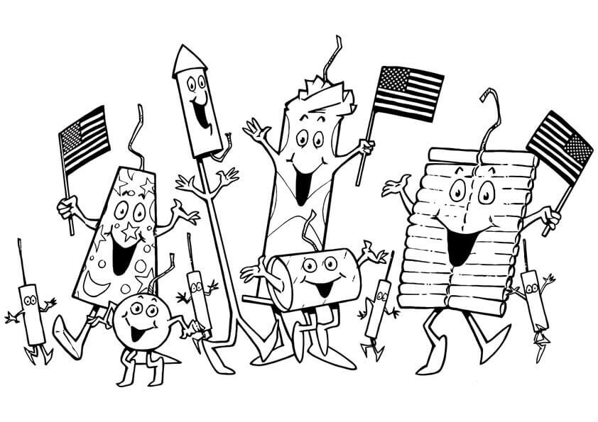 4th Of July Fire Crackers Coloring Pages