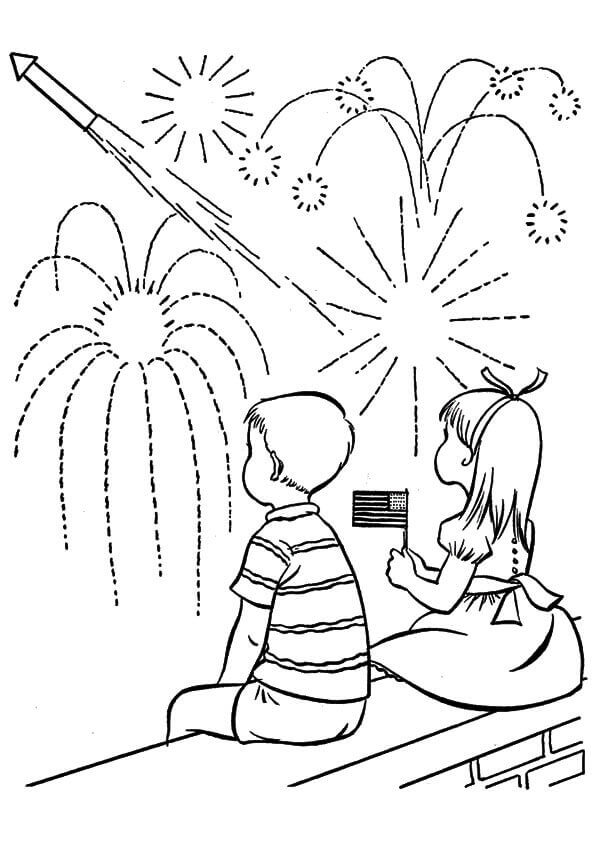 4th Of July Fireworks Coloring Pages