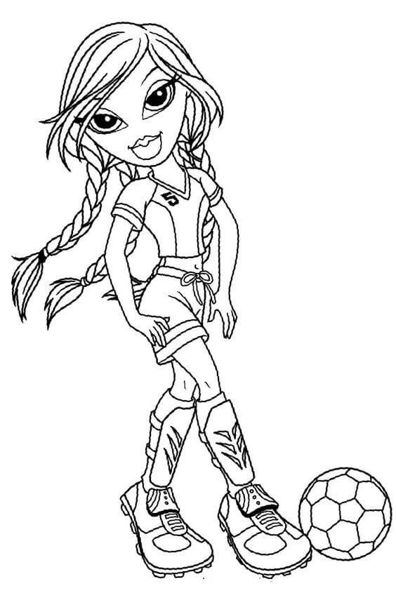 Bratz Girl Playing Football Coloring Page