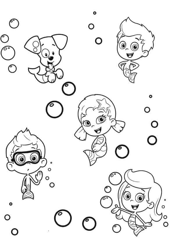 Bubble Guppies Characters Coloring Pages