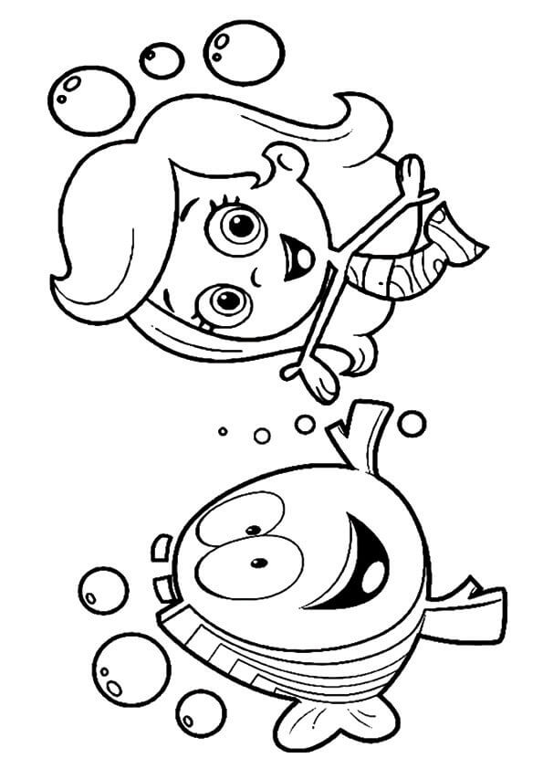 Bubble Guppies Coloring Pages Molly with Mr Grouper