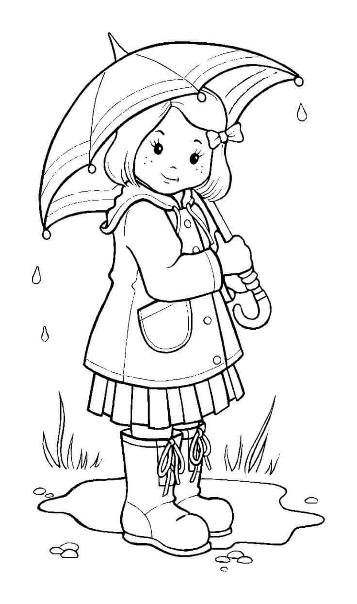 Cute Rainy Day Coloring Pages