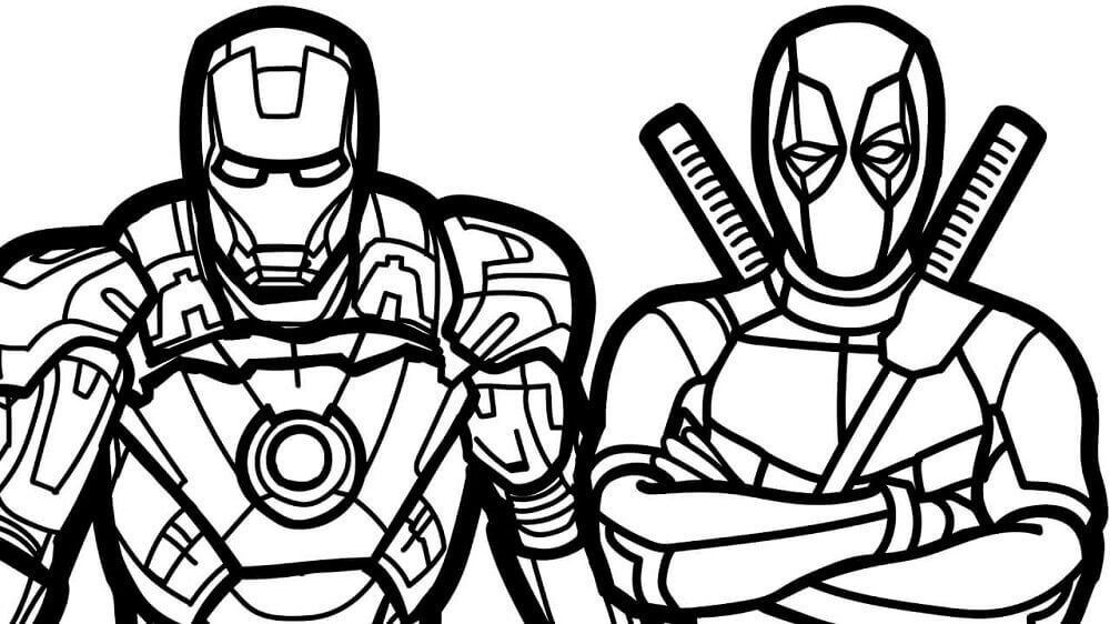 Deadpool And Iron Man Coloring Page