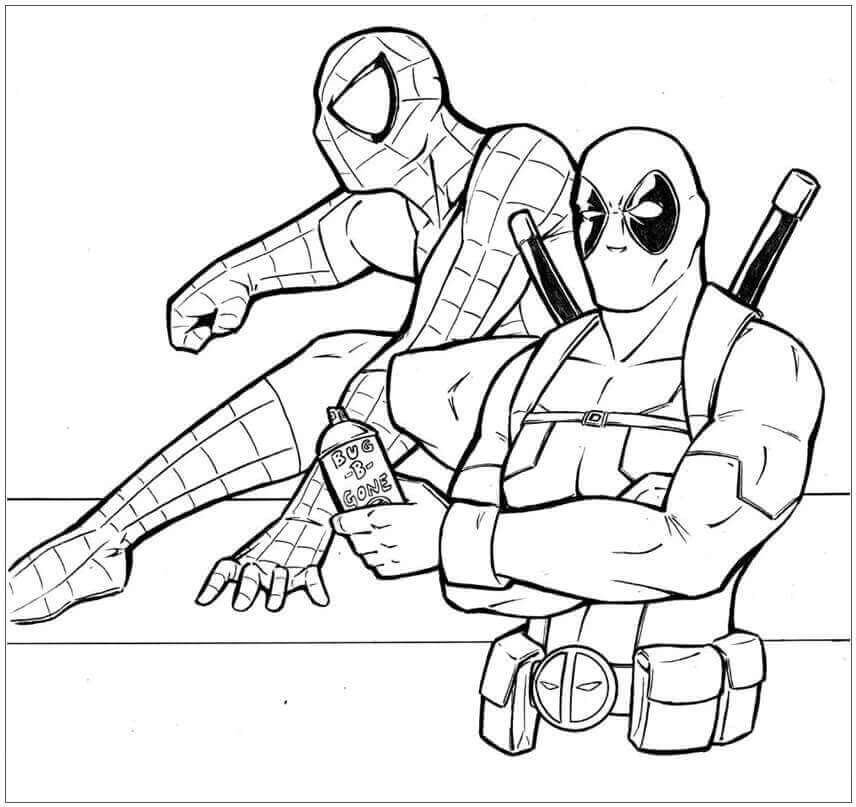 Deadpool And Spiderman Coloring Page
